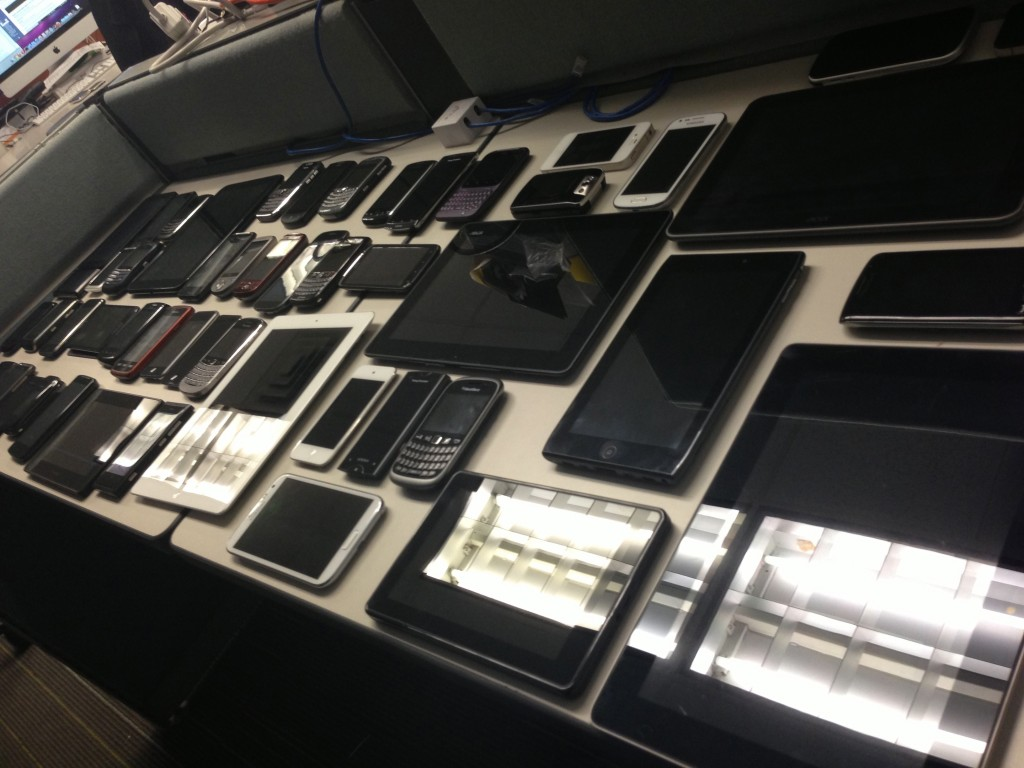 A selection of QA team's many devices
