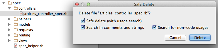 safe delete dialog