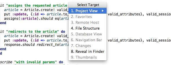 select target dialog