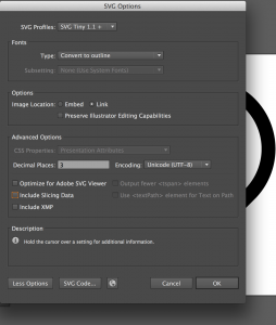 Illustrator CC settings for SVG export to generate icon fonts automatically with FontCustom