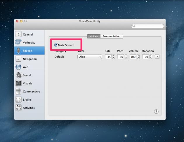 "Screenshot of VoiceOver Utility: check ""Mute Speech"""