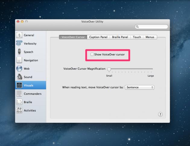 Screenshot of VoiceOver Utility Visuals > Cursor panel: disable cursor