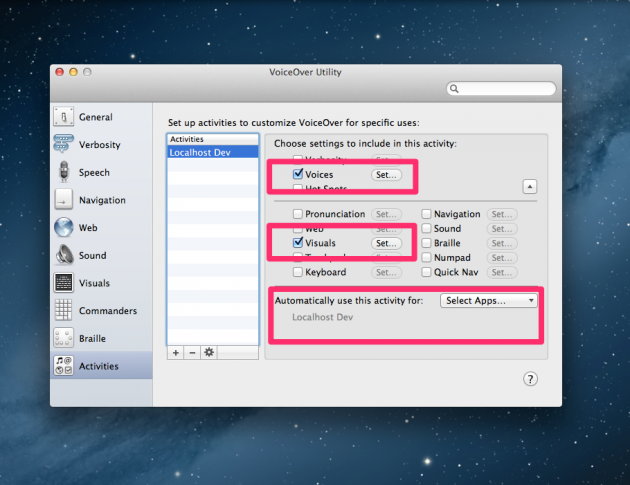 Screenshot of VoiceOver Utility Activities Pane: reenable settings for specific app