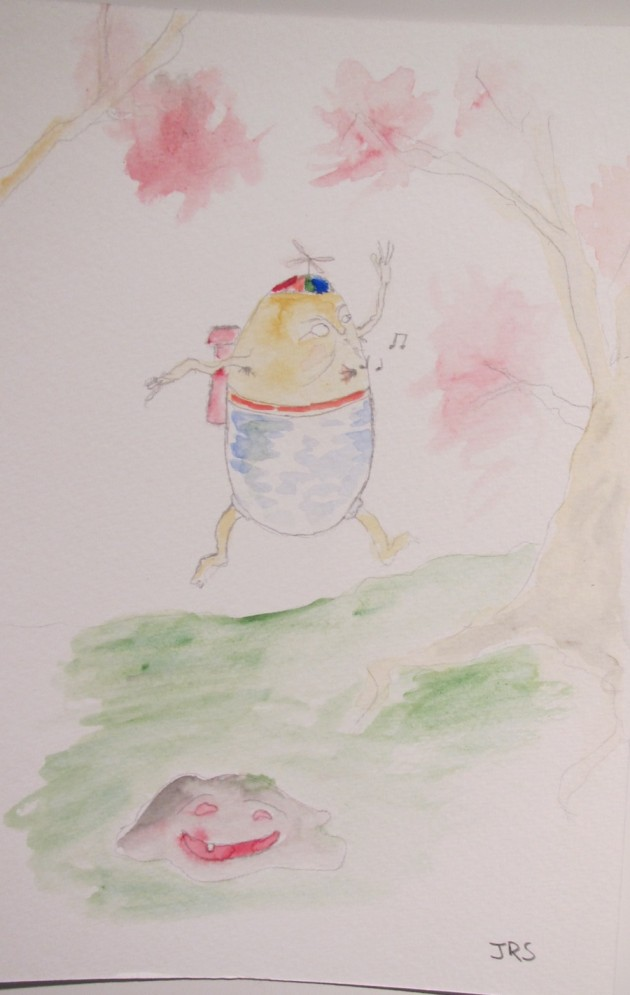 a humpty dumpty man frolicking through the cherry blossoms