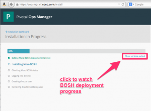 BOSH Installation Progress page