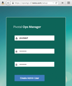 Ops Manager's splash screen used to create initial admin user