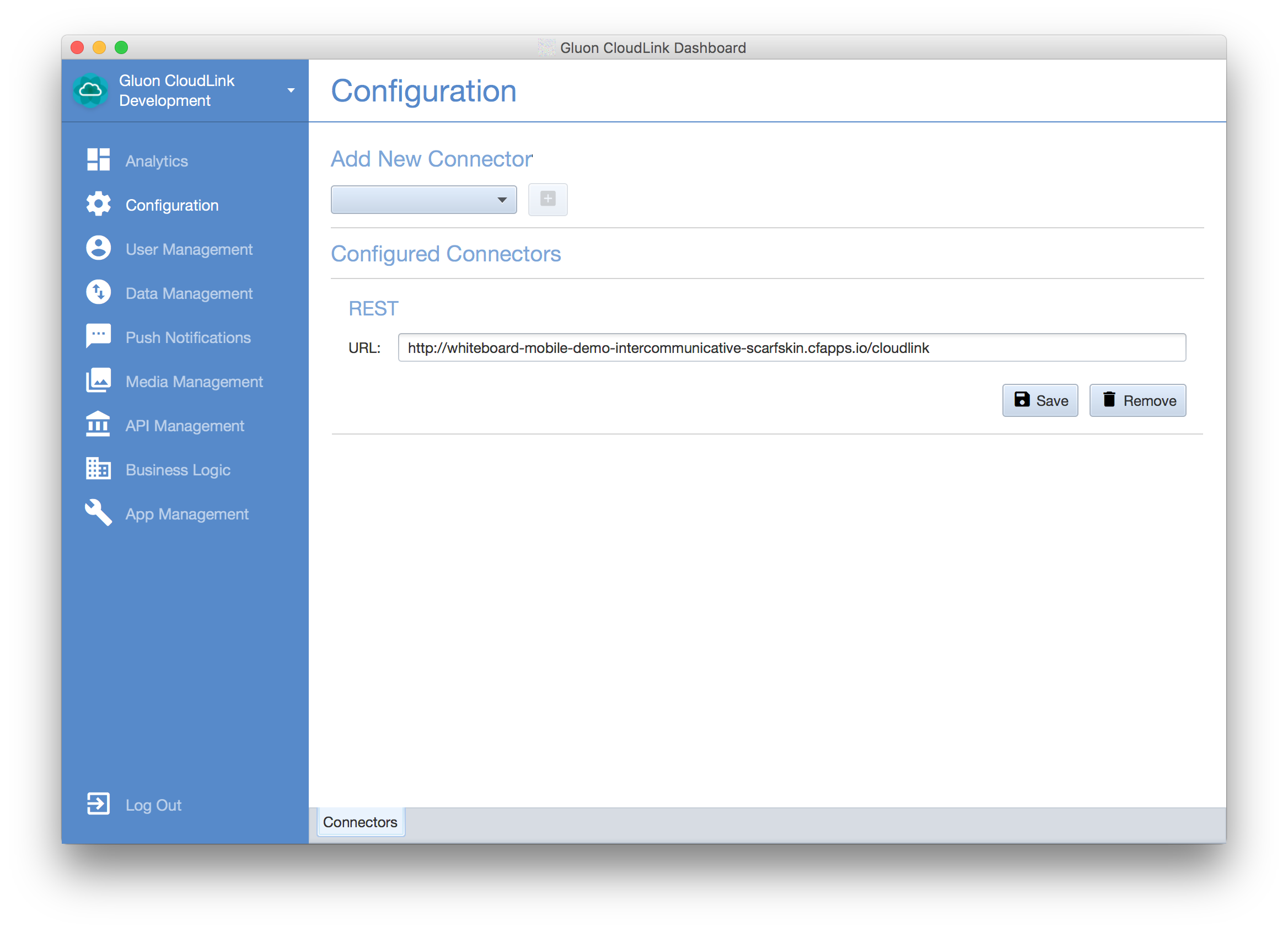 Gluon CloudLink PWS Connector Dashboard