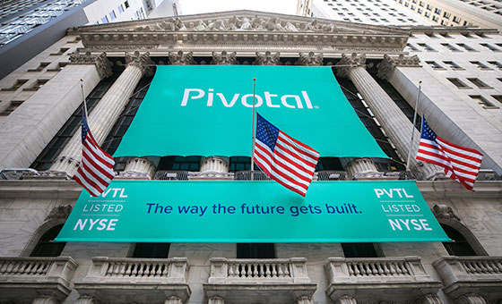 Pivotal banners on Wall Street on day of IPO