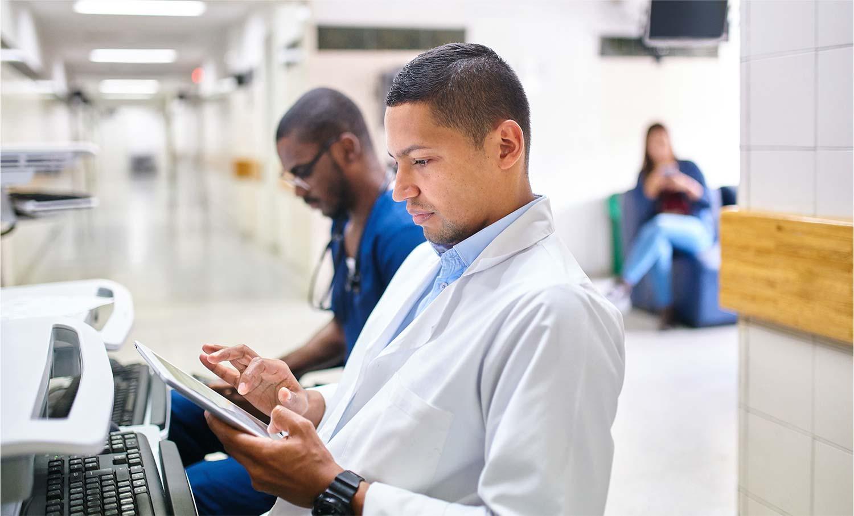 Medical technicians working.