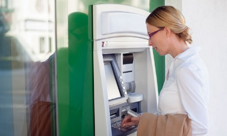 Customer using ATM