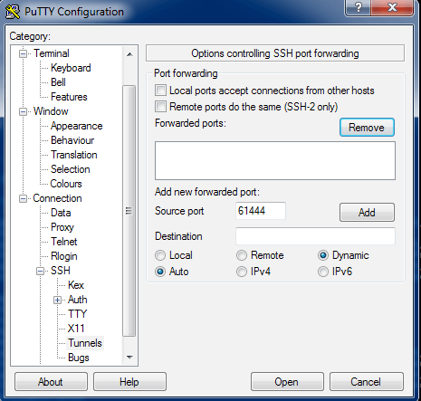 Creating Socks proxy tunnel with Putty